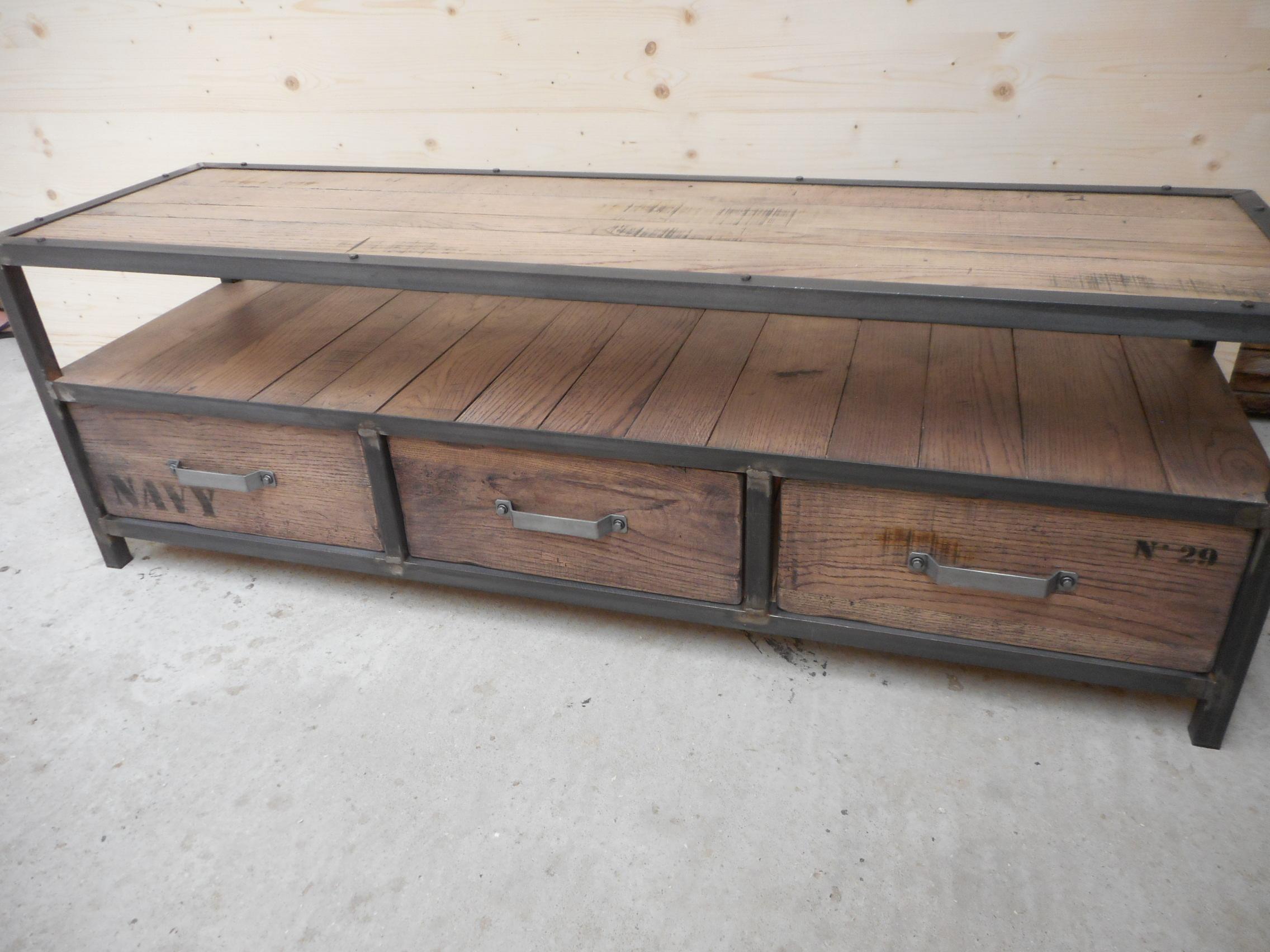 Table de salon et meuble TV en bois/métal